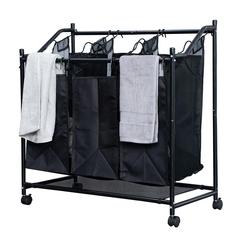 Herzberg Καλάθι οργάνωσης άπλυτων ρούχων με 3 ανεξάρτητα διαμερίσματα HG-8078 -ΕΙΔΗ ΣΠΙΤΙΟΥ