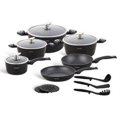 Edenberg Σετ αντικολλητικά μαγειρικά σκεύη με εργαλεία κουζίνας 15 τμχ σε μαύρο χρώμα EB-5611 -ΕΙΔΗ ΜΑΓΕΙΡΙΚΗΣ - ΚΟΥΖΙΝΑΣ
