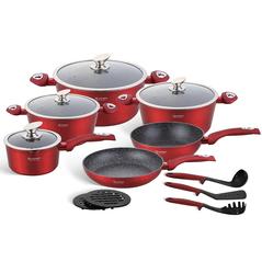 Edenberg Σετ αντικολλητικά μαγειρικά σκεύη με εργαλεία κουζίνας 15 τμχ σε κόκκινο χρώμα EB-5612 -ΕΙΔΗ ΜΑΓΕΙΡΙΚΗΣ - ΚΟΥΖΙΝΑΣ