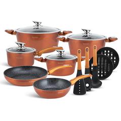 Edenberg Σετ αντικολλητικά μαγειρικά σκεύη με εργαλεία κουζίνας 15 τμχ σε χάλκινο χρώμα EB-5618 -ΕΙΔΗ ΜΑΓΕΙΡΙΚΗΣ - ΚΟΥΖΙΝΑΣ