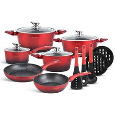 Edenberg Σετ αντικολλητικά μαγειρικά σκεύη με εργαλεία κουζίνας 15 τμχ σε κόκκινο - μαύρο χρώμα EB-5619 -ΕΙΔΗ ΜΑΓΕΙΡΙΚΗΣ - ΚΟΥΖΙΝΑΣ