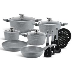 Edenberg Σετ αντικολλητικά μαγειρικά σκεύη με εργαλεία κουζίνας 15 τμχ σε γκρι χρώμα EB-5620 -ΕΙΔΗ ΜΑΓΕΙΡΙΚΗΣ - ΚΟΥΖΙΝΑΣ