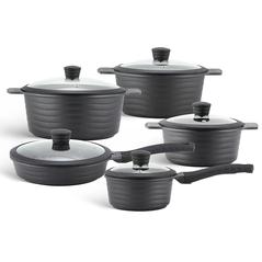Edenberg Σετ αντικολλητικά μαγειρικά σκεύη 10 τμχ σε μαύρο χρώμα EB-9185 -ΕΙΔΗ ΜΑΓΕΙΡΙΚΗΣ - ΚΟΥΖΙΝΑΣ
