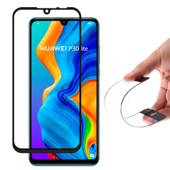 Wozinsky Full Cover Flexi Nano Glass Hybrid Screen Protector with frame for Huawei P30 Lite black -Cell phone tempered glass