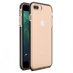 Spring Case clear TPU gel protective cover with colorful frame for iPhone 8 Plus / iPhone 7 Plus black -Cell phone cases and covers