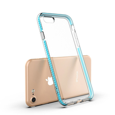 Spring Case clear TPU gel protective cover with colorful frame for iPhone SE 2020 / iPhone 8 / iPhone 7 light pink -Cell phone cases and covers