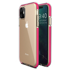 Spring Case clear TPU gel protective cover with colorful frame for iPhone 11 light pink -Cell phone cases and covers