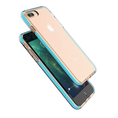 Spring Case clear TPU gel protective cover with colorful frame for iPhone 8 Plus / iPhone 7 Plus light pink -Cell phone cases and covers