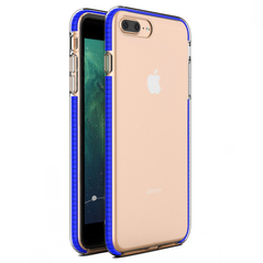 Spring Case clear TPU gel protective cover with colorful frame for iPhone 8 Plus / iPhone 7 Plus dark blue -Cell phone cases and covers
