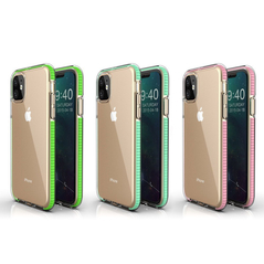 Spring Case clear TPU gel protective cover with colorful frame for iPhone 11 yellow -Cell phone cases and covers