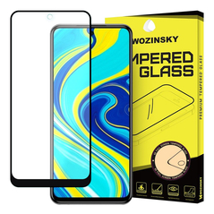 Wozinsky Tempered Glass Full Glue Super Tough Screen Protector Full Coveraged with Frame Case Friendly for Xiaomi Redmi Note 9 Pro / Redmi Note 9S / Poco X3 Pro black -Cell phone tempered glass